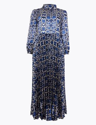 Satin Snakeskin Print Waisted Midi Dress by Marks & Spencer