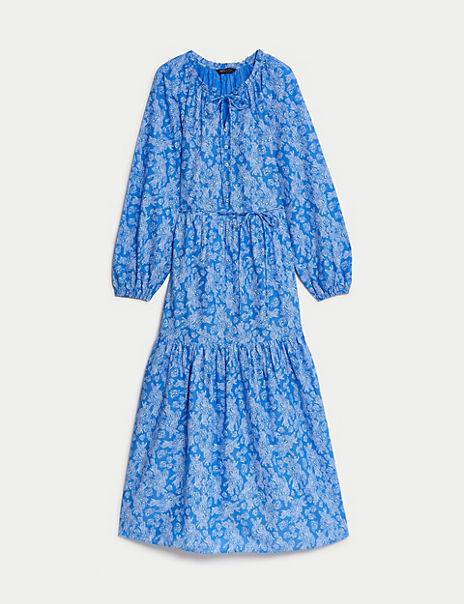 Satin Snakeskin Print Waisted Midi Dress