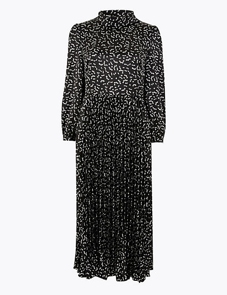 Satin Printed Waisted Midi Dress