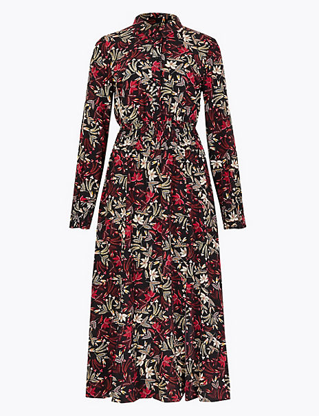 Floral Waisted Midi Shirt Dress
