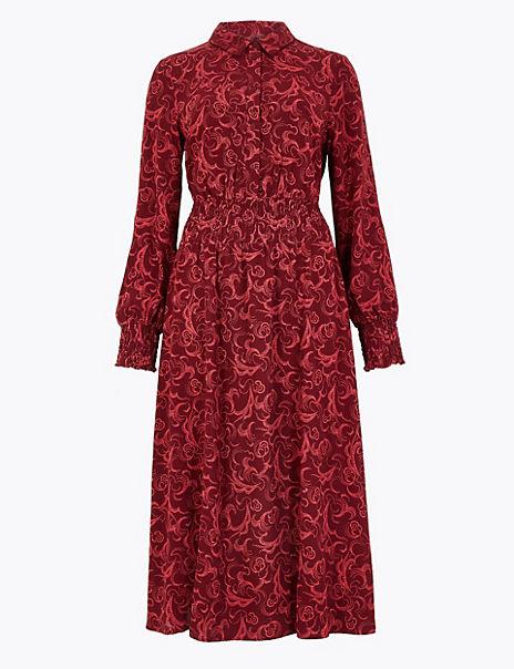 Swirl Print Waisted Midi Shirt Dress
