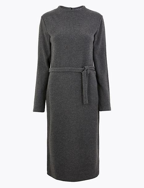 Cotton Rich Belted Shift Midi Dress