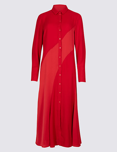 Longline Long Sleeve Shirt Dress