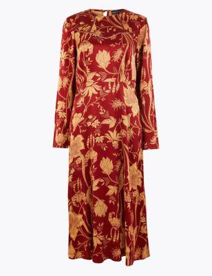 Satin Floral Waisted Midi Dress