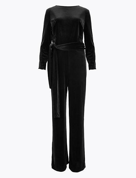 Velvet Belted Jumpsuit