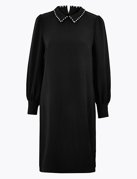 Crepe Collared Neck Shift Dress