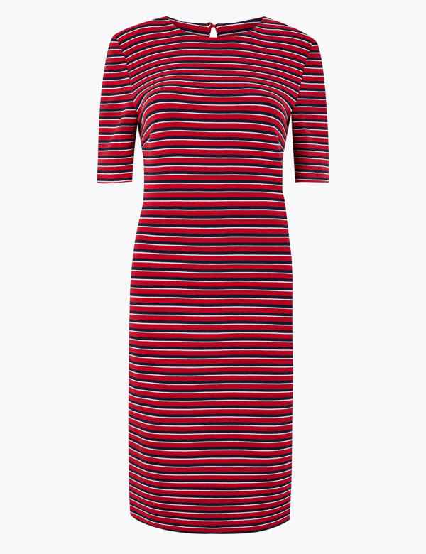 cd5ed9eb7d Cotton Striped Midi Shift Dress
