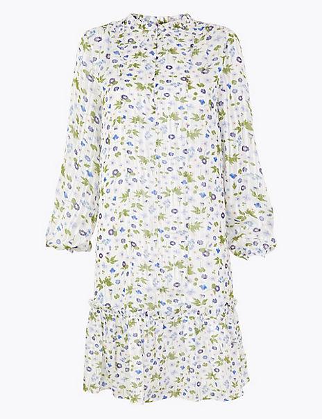 Chiffon Floral Mini Swing Dress