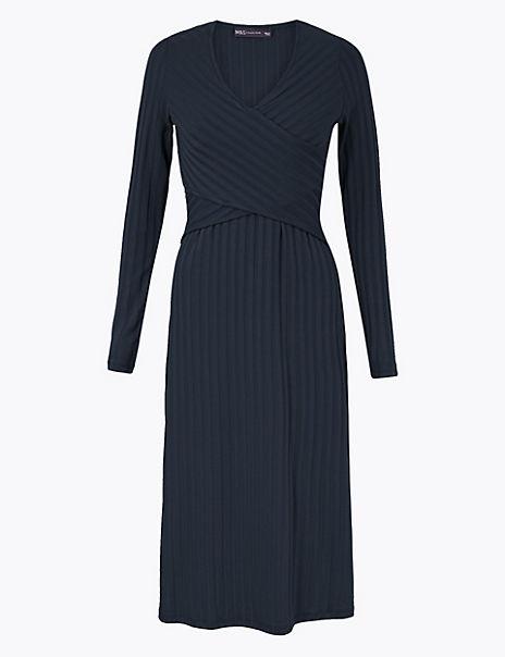 Wrap Detail Fit & Flare Midi Dress