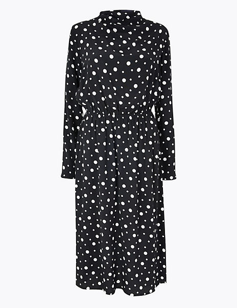 Polka Dot Waisted Midi Dress
