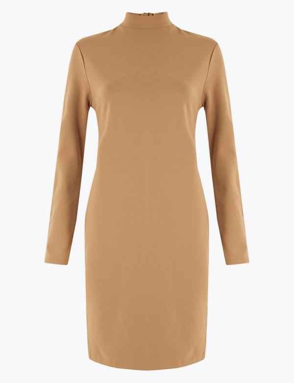 NEW M/&S COLLECTION LADIES CAP SLEEVE V NECK BODYCON DRESS ORANGE 14  20
