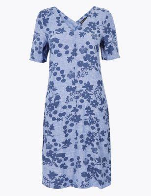 Linen Floral V-Neck Shift Dress