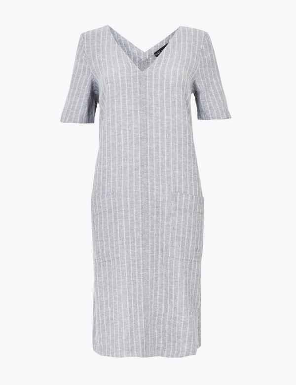 "M/&S Collection Sizes 20 22 Linen Blend Knee Length A-Line Skirt 24/""L Black"