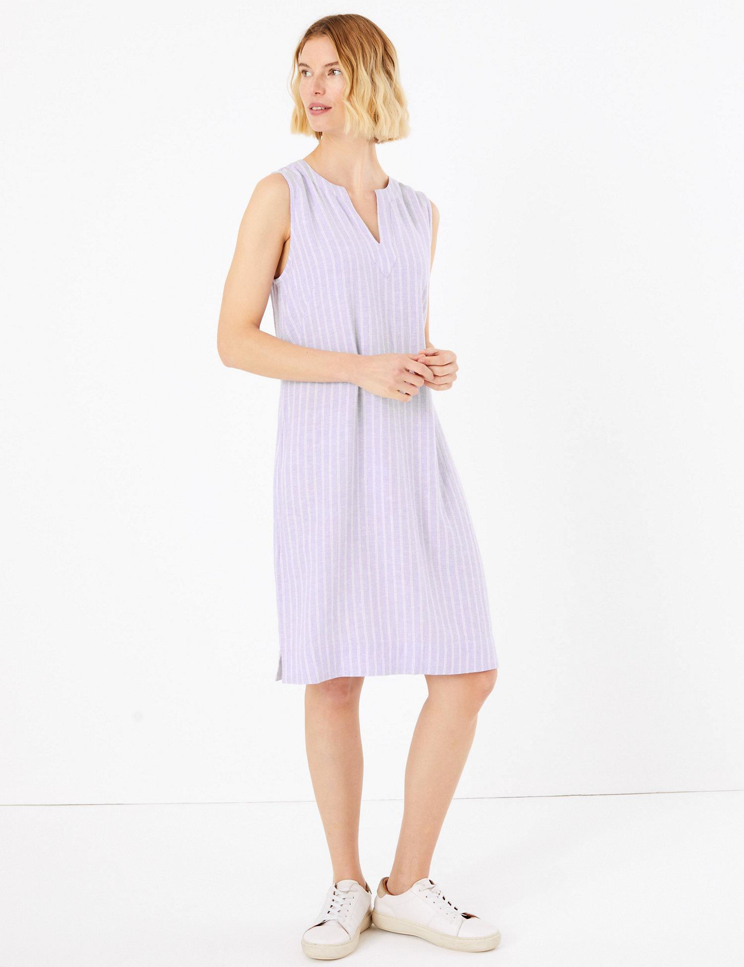 M&S Linen Striped V-Neck Shift Dress
