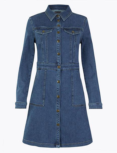Denim Fit & Flare Mini Dress