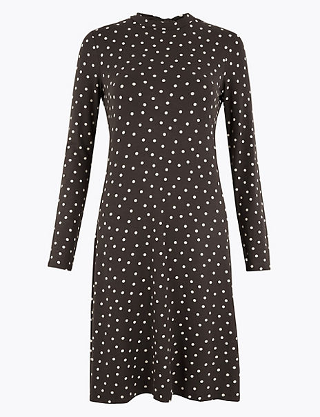 Jersey Polka Dot Swing Dress