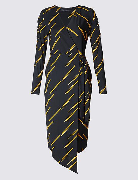 Printed Tie Side Wrap Midi Dress