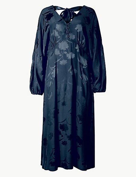 Jacquard Fit & Flare Midi Dress