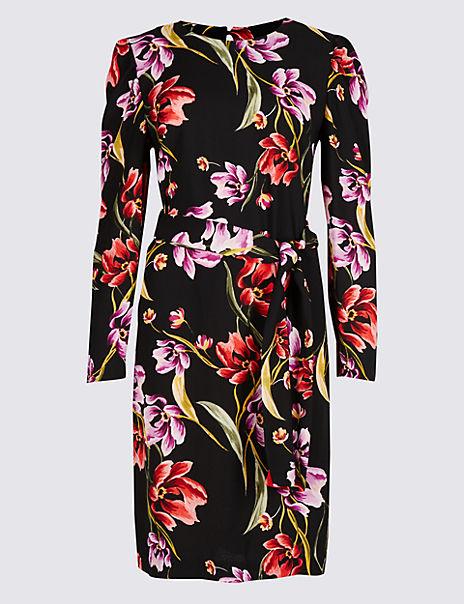 Floral Print Long Sleeve Tunic Midi Dress
