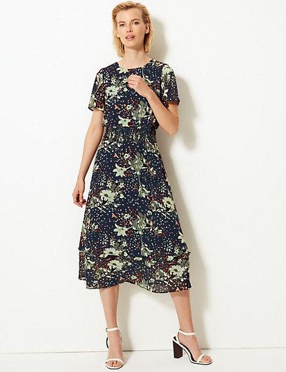 26e5a378fb45 Floral Print Waisted Midi Dress