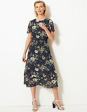 81bc045348f61c Tailliertes Midi-Kleid mit Blumenmuster