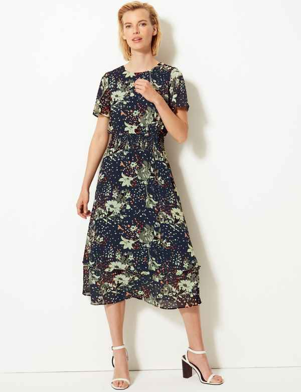 84c3011b8ee Floral Print Waisted Midi Dress
