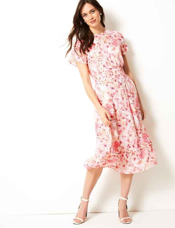 f2596733bbe Floral Print Waisted Midi Dress