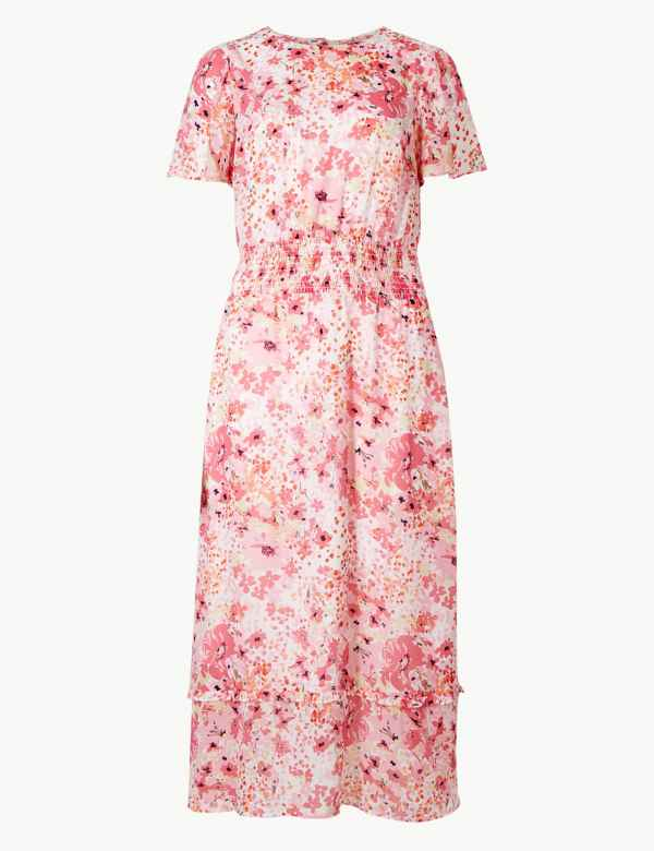 d3464f7b025 Floral Print Waisted Midi Dress. M S Collection