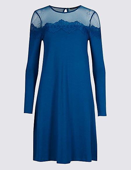 Lace Yoke Long Sleeve Swing Dress