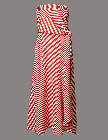 Cotton Blend Striped Skater Midi Dress