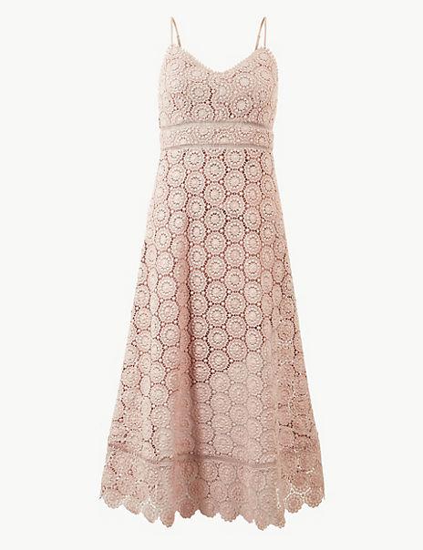 Lace Waisted Midi Dress