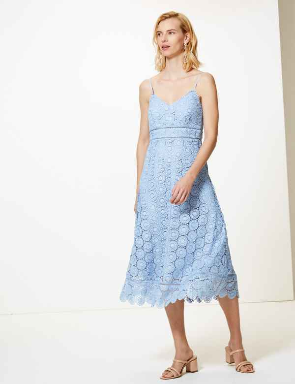 26dd186c3a82 Lace Midi Waisted Dress