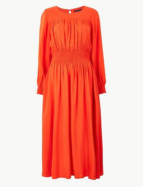 Jacquard Waisted Midi Dress