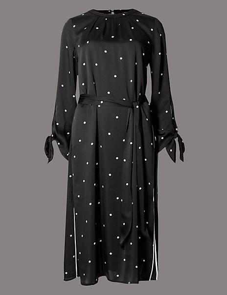 Spotted Long Sleeve Tunic Midi Dress