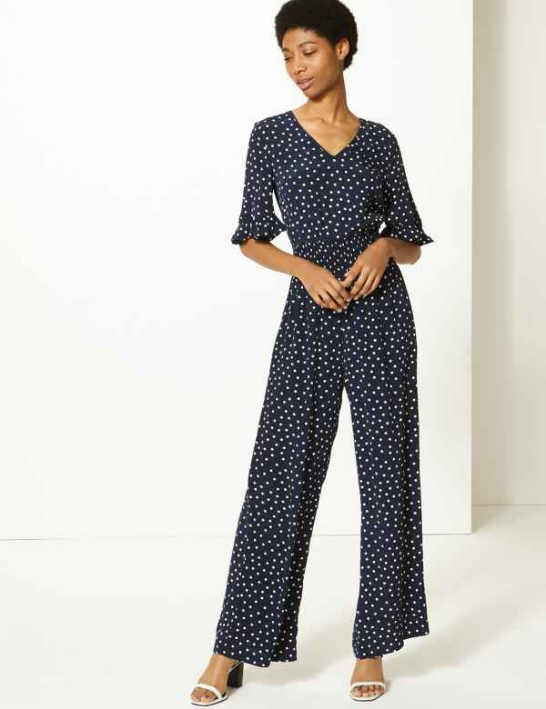 cf7e66a5e306 Polka Dot Waisted Jumpsuit