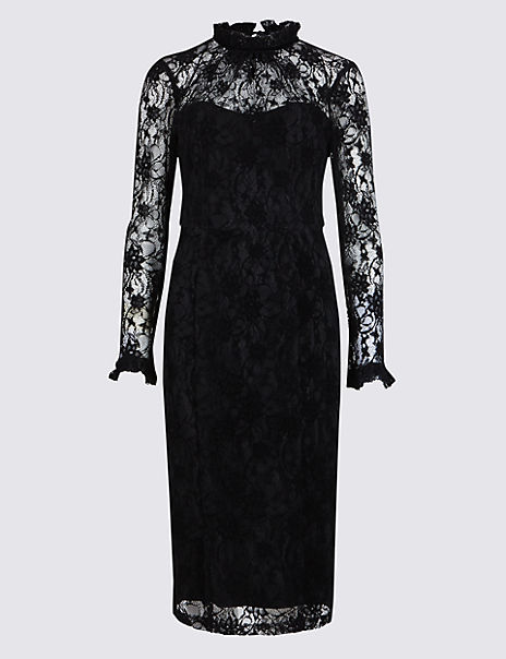 Floral Lace Long Sleeve Bodycon Midi Dress