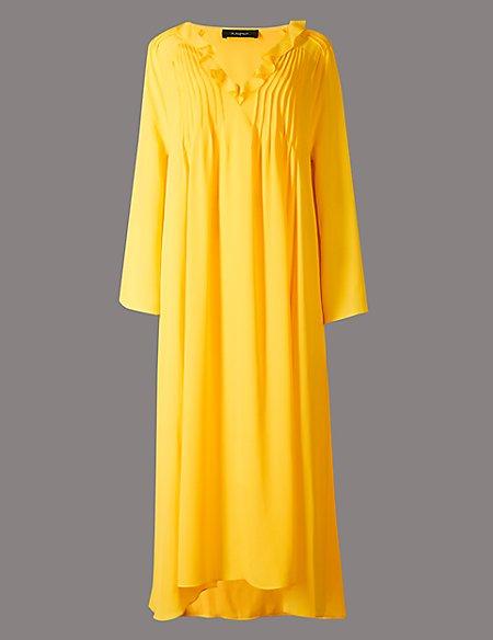 Elliptical Hem Long Sleeve Maxi Dress
