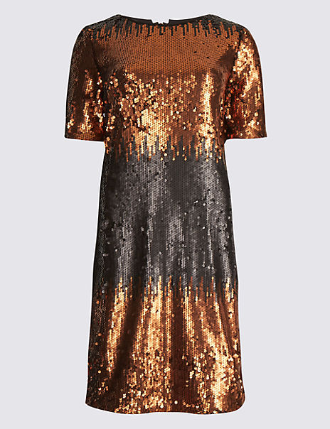 Colour Block Sequin Tunic Dress