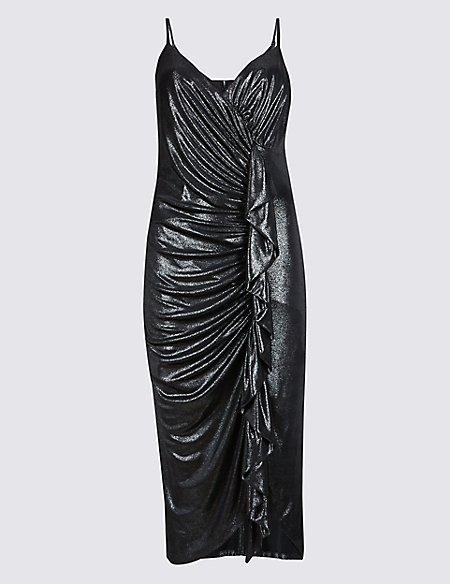 Ruched Ruffle Bodycon Midi Dress