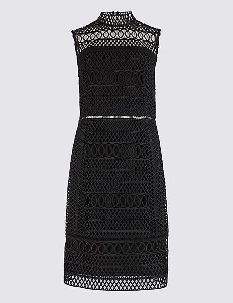 Geometric Lace Sleeveless Shift Dress