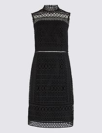 Geometric Lace Shift Midi Dress