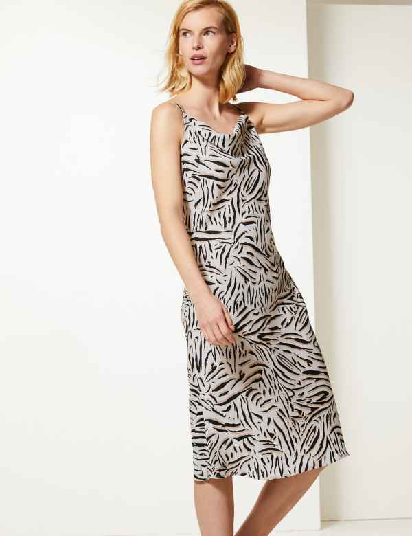 70348c2d05c Animal Print Slip Midi Dress
