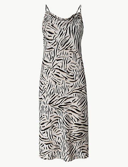 Animal Print Slip Midi Dress