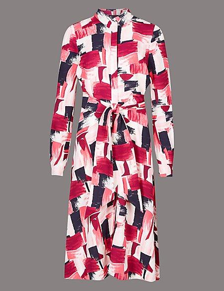 Printed Shirt Midi Dress with Belt