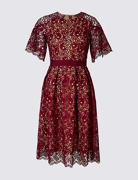 Floral Lace Short Sleeve Skater Midi Dress
