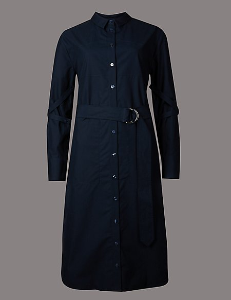 Pure Cotton Long Sleeve Shirt Dress