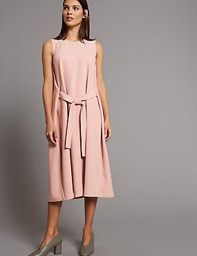 Tie Front Tunic Midi Dress