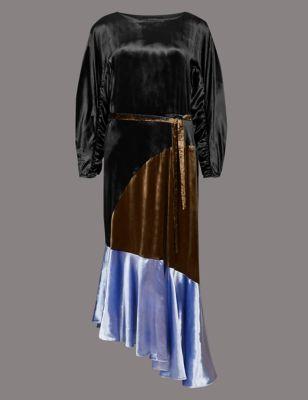 Colour Block Velvet Asymmetric Midi Dress by Marks & Spencer