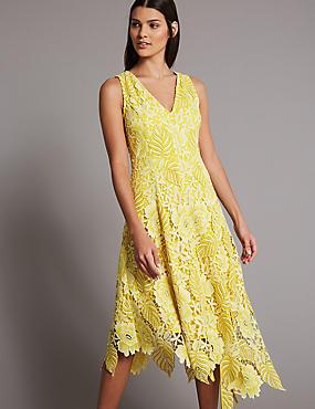 Floral Lace Asymmetric Maxi Dress, LEMON, catlanding