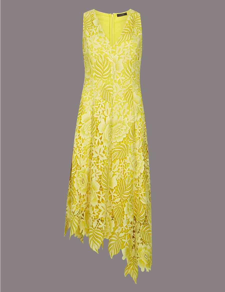 6398aee7d7af Floral Lace Asymmetric Midi Dress